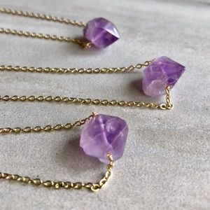 Raw Amethyst Point Crystal Necklace
